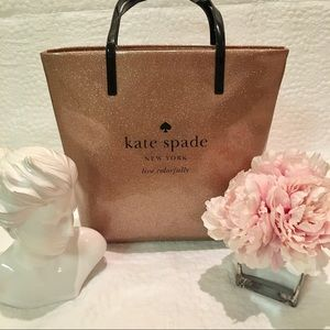 Kate Spade rose gold/pink glitter holiday tote
